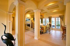 Entry of the River Glen Model by Daniel Wayne Homes, Southwest, Florida. The coffered ceilings are magnificent!