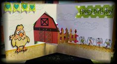 Caz Counsell using the Pop it Ups House Pivot Card, Barn, Cheepers the Chicken, Virgil the Pig and Farm Greetings Clear Stamps by Karen Burniston for Elizabeth Craft Designs. - A STAMPING & CHIRPING Corner: Karen Burniston Farm Animals