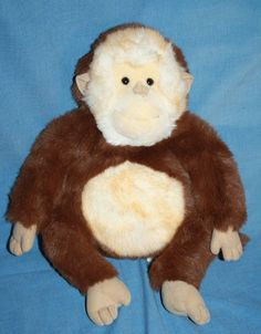 Brown Monkey Tan plush face ears Four Feet out front soft ...