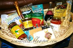 How to make a Trader Joe's Basket  (tutorial at http://acasarella.blogspot.com/2012/03/tisket-tasket-nifty-auction-basket.html)
