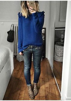 Royal blue sweater. Jeans. Grey jeans. Leopard boots.