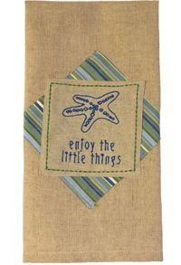 Newport Starfish Enjoy The Little Things - Hand Embroidered Cotton Kitchen Towel by Country House Collection, around $10 (click to see offer)