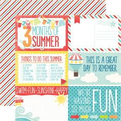 A Perfect Summer Journaling Cards Paper - summer is coming and these are super cute! NOT a printable, you have to order and have these shipped, but so cute and only 80 cents per sheet Summer Journal, Life Journal, Journal Cards, Pocket Scrapbooking, Free Digital Scrapbooking, Scrapbook Journal, Scrapbook Paper, Scrapbook Layouts, Filofax