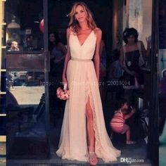 A Line Wedding Dresses 2016 Spring Bohemian Wedding Dress V Neck A Line Split Side Sweep Train Beach Wedding Dresses High Slit Bridal Gowns Chiffon Lace A Line Wedding Dresses Strapless From Imonolisa, $106.35| Dhgate.Com