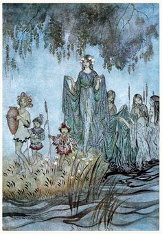 oldbookillustrations:  Sabrina rises, attended by water-nymphs. Arthur Rackham, from Comus, by John Milton, New York, London, 1921. (Source: archive.org.)
