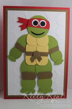 Teenage Mutant Ninja Turtle Punch Art - Raphael - instructions included.  Kelly Kent - mypapercraftjourney.com