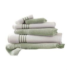 6-Piece Egyptian Cotton Towel Set in Soft Jade
