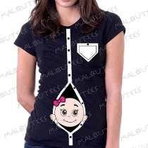 74c46dba3d Camiseta Baby Look Gravida Gestante Bebe Na Barriga Espiando