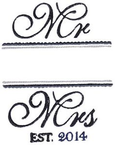 Mr and Mrs embroidery designs at Bunnycup Embroidery at http://www.bunnycup.com/embroidery/design/MrandMrs