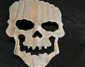 Up-cycled old Corrugated Metal Skull