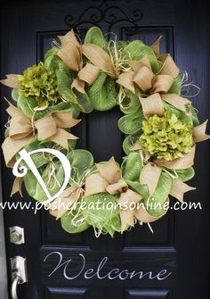 Spring Green, Spring Wreath,  Summer Mesh Wreath, Burlap Wreath, Deco Mesh Wreath, Summer Wreath, Custom initial Monogram. $94.99, via Etsy.