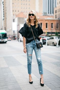 mom jeans and bell sleeves