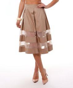 Loving this Beige Mesh-Stripe Midi Skirt on #zulily! #zulilyfinds