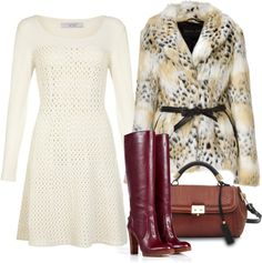 """""""Python flap bag,Faux Fur Jacket, Crochet Fit and Flare Dress,Leather Stacked Boots"""" by cecille-m ❤ liked on Polyvore"""