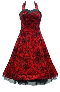 Red Tattoo Flocked Halter Dress Rockabilly Prom 50's Swing Pinup Petticoat