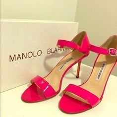 Manolo Blahnik Hot Pink Sandals Like new! Fabulous Manolo Blahnik hot pink patent leather sandals. The perfect summer heel to wear to weddings, parties and hot dates. Super comfortable and would suit a narrow foot. Size 8 1/2 (38.5) but would suit a size 8 (38) as well. Approx 2.5 inch heel. Comes in original box, with original Manolo Blahnik dust bag for travel. Perfect to wear from California to Capri! #ManoloBlahnik #Sandals #Shoes #Fashion #Heels Manolo Blahnik Shoes Sandals
