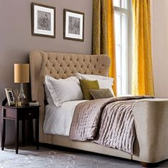 plush textures + elegant colour scheme of soft grey & warm yellow | via Dreamy Bedrooms ~ Cityhaüs Design