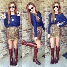 This outfit is perfect for a holiday party! Or you could switch out the skirt to make the outfit more casual. Found this outfit from Preppy Mode, Preppy Style, My Style, Cute Fashion, Look Fashion, Womens Fashion, Fall Fashion, Trendy Fashion, Fashion Ideas