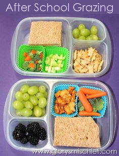 After School Kids Snacks. Kids love not having their food touching each other Plus this is so healthy. A great snack for not just kids but adults too. Lunch Box Bento, Easy Lunch Boxes, Lunch Snacks, School Snacks, Lunch Ideas, Kids Snack Box, Snacks Kids, Kids Meals, Easy Snacks