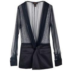 Slim Black Splicing Suit ($59) ❤ liked on Polyvore