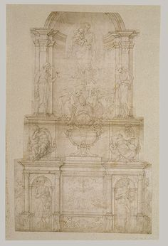 Project for a Wall Tomb for Pope Julius II Michelangelo Buonarroti (Italian, 1475–1564) Pen and brown ink, brush and brown wash, over leadpoint or black chalk and ruling 20 1/16 x 12 9/16 in. (51 x 31.9 cm) Rogers Fund, 1962 (62.93.1)
