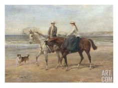 Riders on the Shore Art Print by Heywood Hardy at Art.com