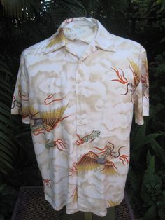 HAWAIIAN Aloha SHIRT M pit to pit 23 DRAGONFLY rayon dragons in clouds #DragponFlyClothingCompany #Hawaiian Mens Hawaiian Shirts, Aloha Shirt, Dragons, Men Casual, Clouds, Mens Tops, Train Your Dragon, Kite, Kites