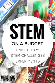 Inexpensive STEM ideas and budget STEM supplies and activities for kids. Building structures, STEM challenges, tinker tray ideas and science experiments  for preschool, kindergarten, and early elementary age kids.