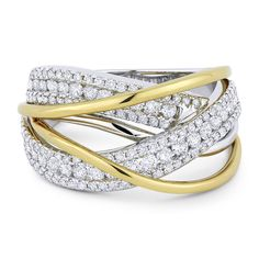 1.11ct Round Cut Diamond Pave Overlap Swirl Right-Hand Statement Ring in 18k White & Yellow Gold - AlfredAndVincent.com