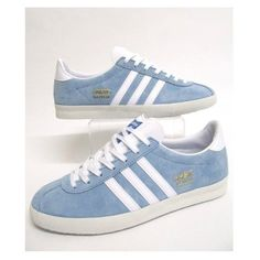 Adidas Gazelle Og Trainers Sky Blue/white ($94) ❤ liked on Polyvore featuring shoes, sneakers, white shoes, white suede shoes, adidas, suede shoes and white sneakers