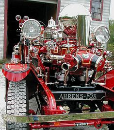 1924 Ahrens-Fox piston pump with gold stripes and nickle plating.  http://www.firegold.com/2ahrensFox.html  https://www.facebook.com/First-Responders-Are-Life-1456865557758170/
