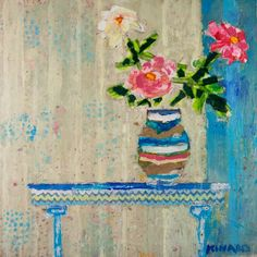 <b>Roses On The Table 36x36</b> - Mixed Media - Shain Gallery (704) 334-7744