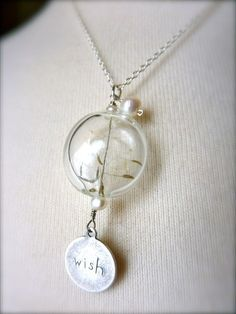 Make a Wish Dandelion Pendant Necklace by springdream on Etsy, $32.00