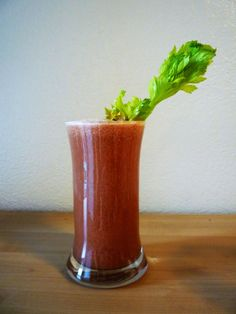 Morning Bloody Mary:  4 large tomatoes, 6 celery stalks, 1/2 lemon, and black pepper or cayenne pepper to taste!