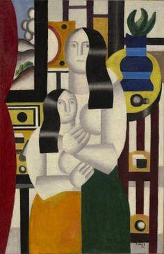 Deux femmes, huile de Fernand Leger (1881-1955, France)
