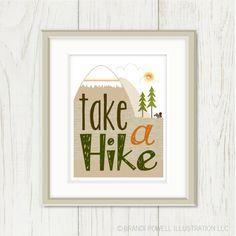 Take a Hike Poster: Summer Camping Print - Mountains, Evergreen Tree, Squirrel - Typography, Chevron, Stripes - Men - Brown, Orange 8 x 10. $18.00, via Etsy.