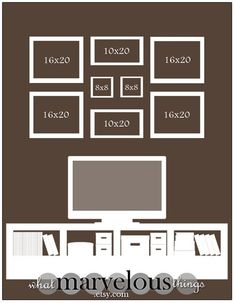 "I need to re-vamp my family photo wall. Photo Wall Display Templates - ""Magnolia Crescent"" by tameka Deco Tv, Wedding Photo Walls, Wedding Wall, Wedding House, Wedding Bedroom, Photowall Ideas, Picture Arrangements, Home Living, Photo Displays"