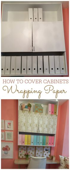 How to cover cabinets with wrapping paper. Removable!