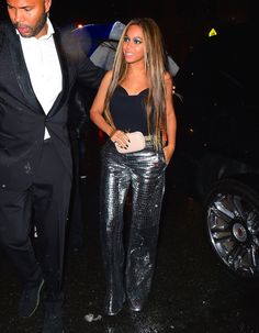 How Beyoncé Slayed Twice in One Night! From Latex to Leather.  Beyonce in Loewe's mirrored, embossed flared leather trousers.  After party, Met Gala 2016.