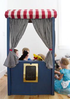 Ikea Skylta Child's Market into puppet theater - for playroom