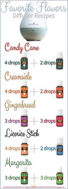 Diffuser Recipes: Favorite Flavors ~ Essential Oil Diffuser Recipes featuring Young Living Essential Oils
