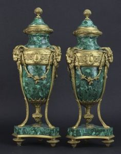Pair Russian Style Bronze Mounted Malachite Urns