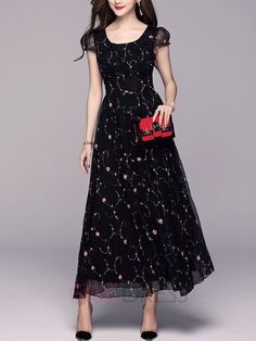 Ericdress A-Line Expansion Maxi Dress 2 Stylish Dresses For Girls, Modest Dresses, Simple Dresses, Polka Dot Maxi Dresses, Navy Floral Dress, Long Dress Fashion, Fashion Dresses, Western Style Dresses, Mother Of Bride Outfits