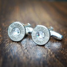 Bullet Cufflinks with Swarovski Crystal Steampunk Vintage Wedding Groom Gift Mens Retro Present