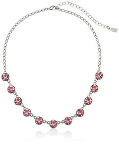 """1928 Jewelry Silver-Tone Pink Genuine Swarovski Crystal Collar Adjustable Strand Necklace, 16"""". Pink genuine Swarovski crystals dot along a 16"""" adjustable silver-toned chain to create a dazzling accessory that adds a feminine touch to any outfit. Made in United States."""