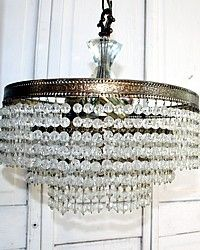 Vintage Three Tier Crystal Wedding Cake Chandelier-antique, French,gold, gilt, filigree, rock,faceted,mid century,