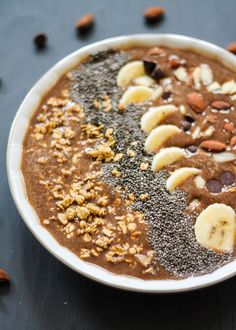 A thick and creamy smoothie bowl packed with protein! Options to make it a mocha smoothie by adding instant coffee or just make your own. This is a great base recipe and good for breakfast or dessert.