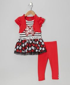 Loving this Red Butterfly Layered Tunic & Leggings - Infant on #zulily! #zulilyfinds