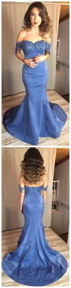 Prom Dresses,Appliques Prom Dresses,Long Prom Gown,Mermaid Evening Dress,Blue