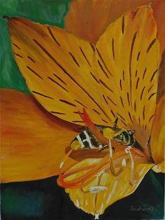 Bee & Flower Spirit 5 Charity Friends of the Earth (2013) Oil painting by Adelwolf Kopf` | Artfinder